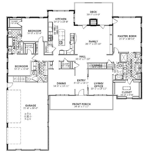 План 1 этажа План 2-этажного дома KD-5533-2-4