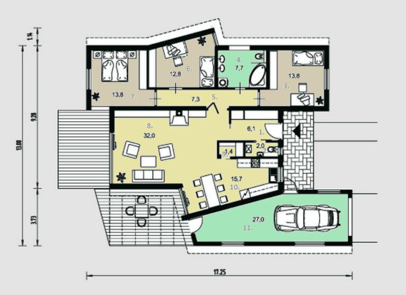 Этот красивый проект двухэтажного каркасного дома в современном стиле12 метров площадью  до 200 кв.м с гаражом и с 3 спальнями подходит для постоянного проживания. В большой спальне есть ванная и гардеробная комната. В проекте дома есть терраса..