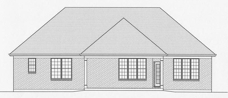 Вид сзади Проект дома в стиле Прованс с вальмовой крышей и выступающим гаражом