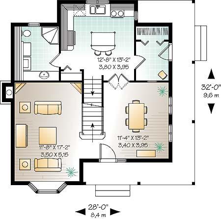 План 1 этажа План двухэтажного коттеджа 9 на 10 в сказочном стиле DR-4686-2-3