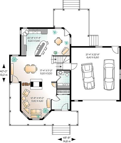 Этот красивый проект двухэтажного каркасного дома 12 метров площадью  до 200 кв.м с гаражом на 2 машины и с 3 спальнями подходит для постоянного проживания. В большой спальне есть ванная. Также перед домом есть веранда..