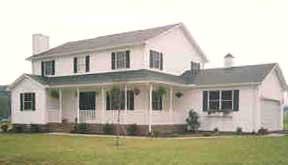 Проект дома купить Проект двухэтажного каркасного дома с угловой верандой и спиральной лестницей