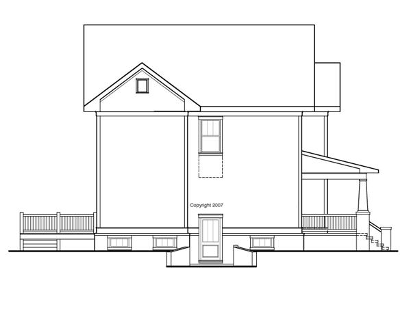 Вид слева Проект двухэтажного каркасного дома с подвалом, верандой и кабинетом