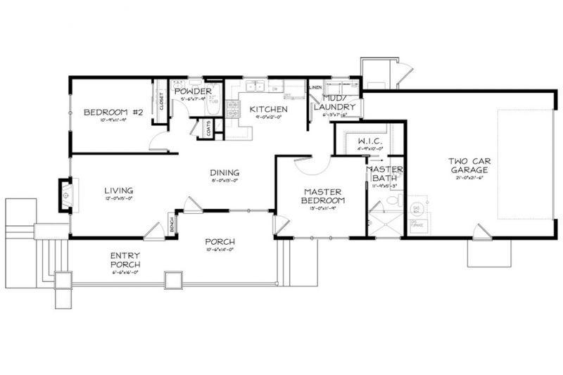 План 1 этажа Проект красивого дома в современном стиле с двускатной крышей: план SS-7791-1-2