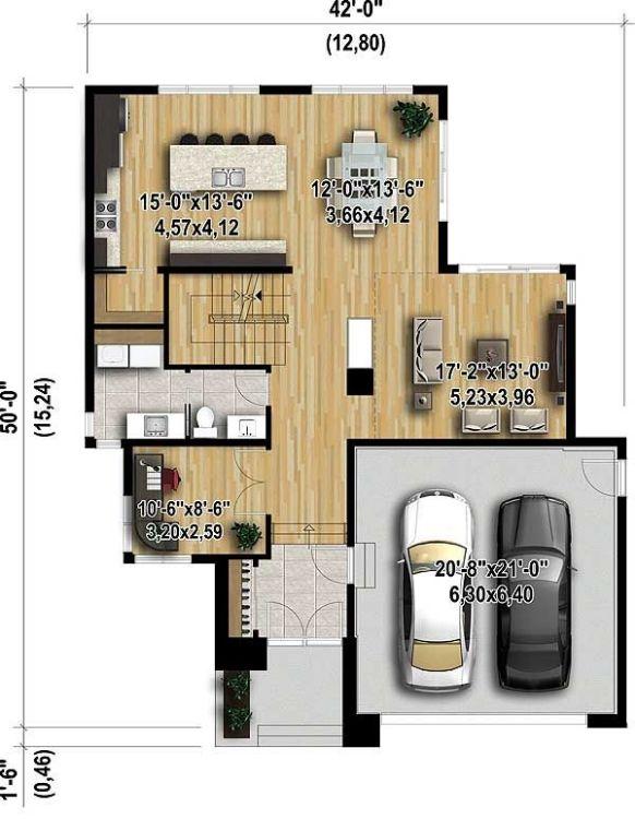 План двухэтажного каркасного дома в современном стиле с плоской крышей и большими окнами площадью  до 250 кв.м. Планировка с гаражом на 2 машины и с 3 спальнями подходит для постоянного проживания.