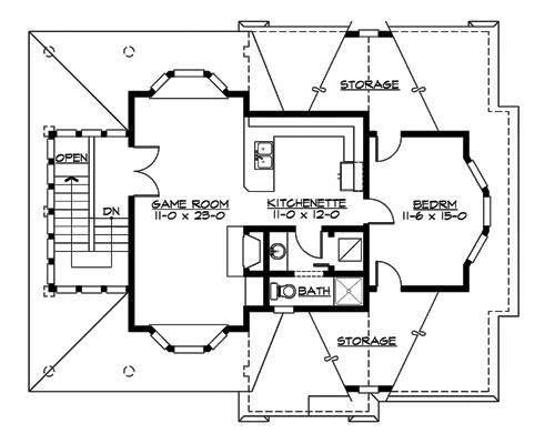 Красивый дом с мансардой под вальмовой крышей будет прекрасным дополнением на участке, если у вас еще нет гаража. Этот дом — гараж с местом под мастерскую. Здесь можно поставить три автомобиля, два друг за другом и еще один параллельно. На мансарде, около лестницы большая игровая комната, где можно разместить билльярд или теннисный стол. В центре находится кухня и ванная комната, а в глубине дома большая спальня с эркером и доступом в кладовые под скатами крыши.   Этот проект дома также может заинтересовать владельцев малого бизнеса. Например, занимающихся ремонтом автомобилей, с возможностью жизни и работы в одном месте.
