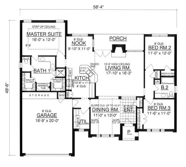 План 1 этажа Проект кирпичного дома с большими окнами и красивым фасадом в стиле Прованс