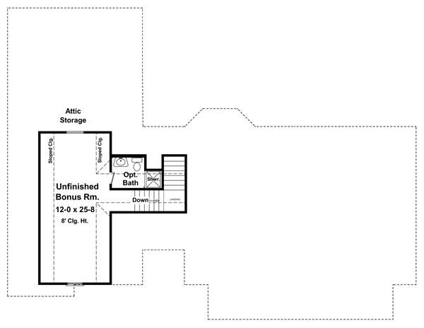 План мансарды План 1-этажного дома с маленькой мансардой KD-8567-1-3 151 кв м
