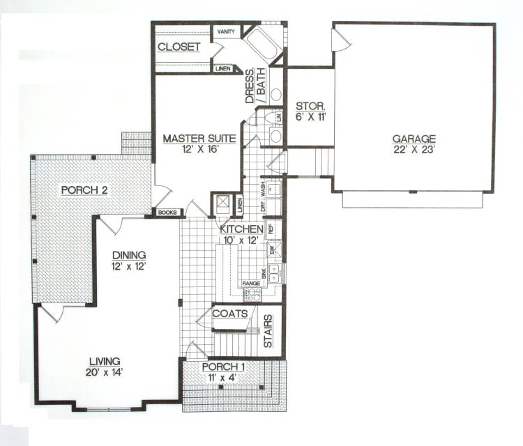 План 1 этажа Проект красивого дома в стиле кантри с 4 спальнями и гаражом