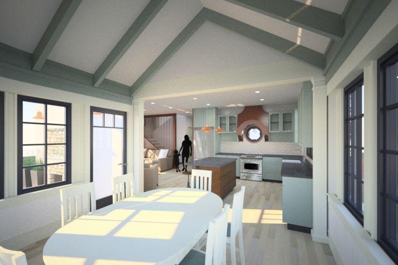 Фото дизайна столовой и кухни. Сводчатый потолок Проект эксклюзивного дома для Сибири с асимметричной крышей