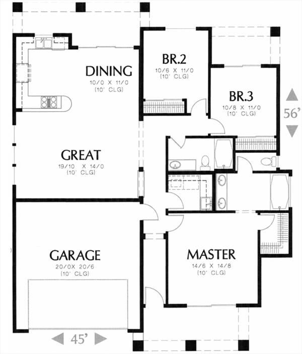 План 1 этажа План одноэтажного дома до 150 в испанском стиле с гаражом 3 спальнями