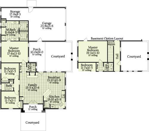 Этот привлекательный проект одноэтажного дома  площадью  до 200 кв.м с гаражом на 2 машины и с 3 спальнями подходит для постоянного проживания. В большой спальне есть ванная. Также перед домом есть веранда..