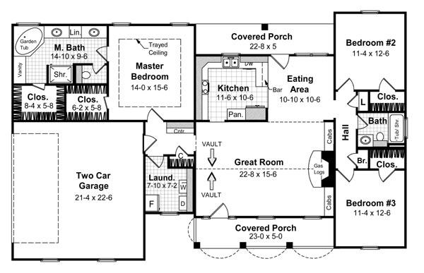 План 1 этажа План 1-этажного дома KD-5874-1-3 в американском стиле 158 кв м