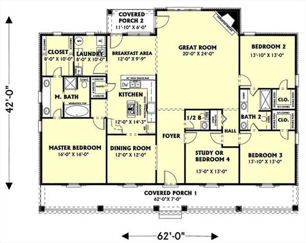 План 1 этажа План 1-этажного дома 19x13 219 кв м