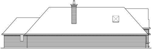 Вид слева Проект красивого одноэтажного каркасного дома с кирпичным фасадом для узкого участка
