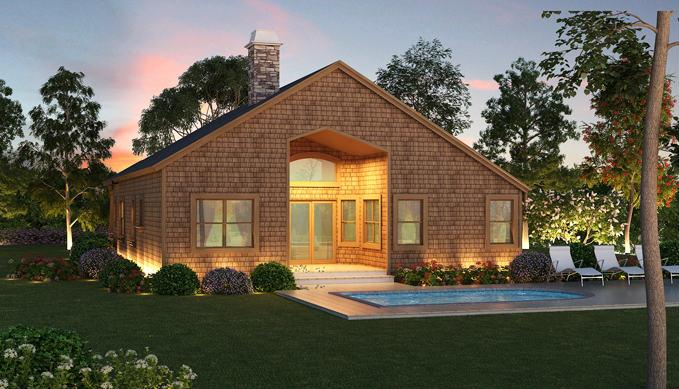 Вид сзади Проект красивого одноэтажного дома HD-4446-1-3 с внутренним двориком в стиле кантри
