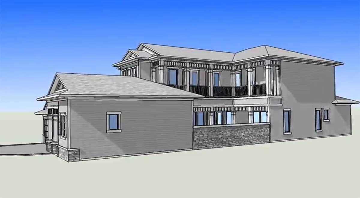 Канадский дом с фасадом шириной 12 м для строительства на узком участке. Внутренний дворик закрыт от улицы маленьким гостевым домом. В доме 4 спальни и открытая планировка. Фото интерьера.