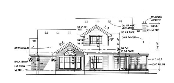 Проект двухэтажного каркасного дома до 200 кв.м с гаражом на 2 машины, верандой, террасой, вторым светом и 3 спальнями для постоянного проживания.