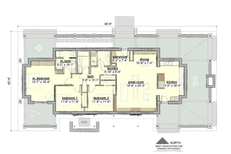 Этот популярный проект одноэтажного дома в финском стиле площадью  до 200 кв.м с 3 спальнями подходит для постоянного проживания. В проекте дома есть терраса..