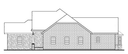 Фасад План 1-этажного дома JA-4937-1-3 в стиле кантри
