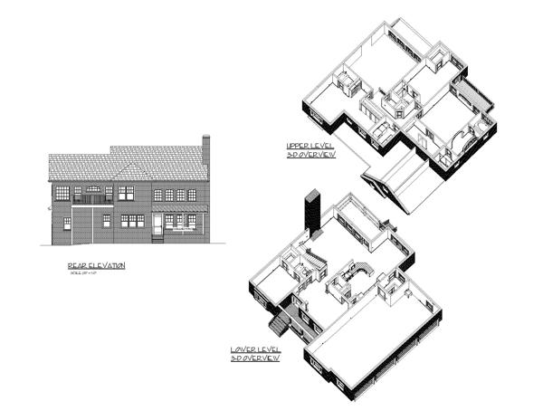 Вид сзади План 2-этажного дома 16x16 256 кв м