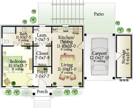 Проект маленького одноэтажного дома в дачном стиле площадью до100 кв.м с навесом и одной спальней подходит  для дачи.