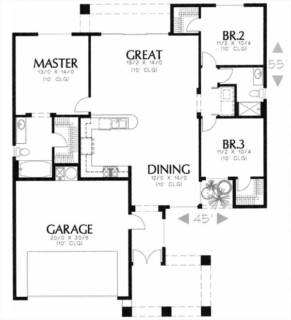 Этот красивый проект одноэтажного дома в средиземноморском стиле площадью  до 150 кв.м с гаражом на 2 машины и с 3 спальнями подходит для постоянного проживания.