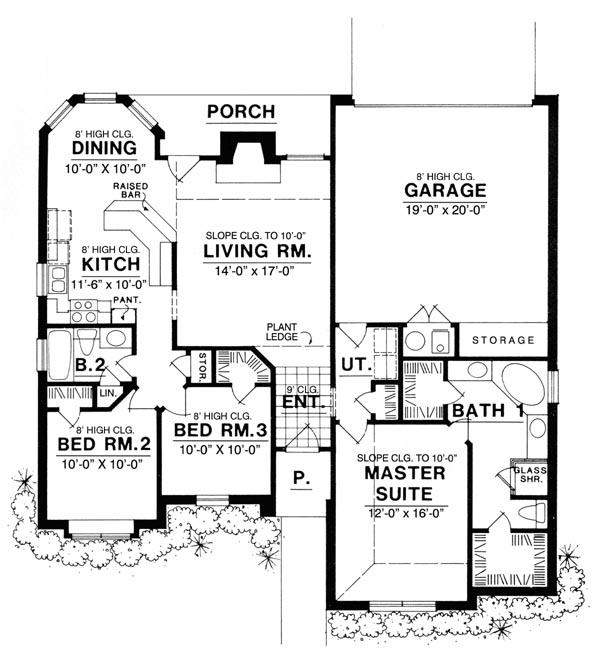 Этот практичный проект одноэтажного дома  площадью  до 150 кв.м с гаражом на 2 машины и с 3 спальнями подходит для постоянного проживания. Также сзади дома пристроена веранда..