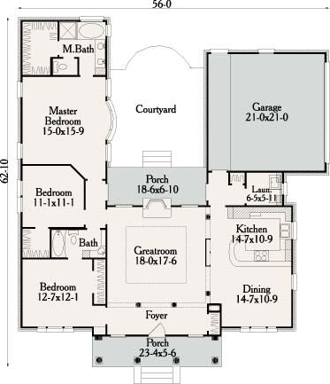 Этот красивый проект одноэтажного дома  площадью  до 200 кв.м с гаражом на 2 машины и с 3 спальнями подходит для постоянного проживания. В большой спальне есть ванная. Также перед домом есть веранда..