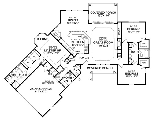 План 1 этажа План 1-этажного дома 25x19 192 кв м