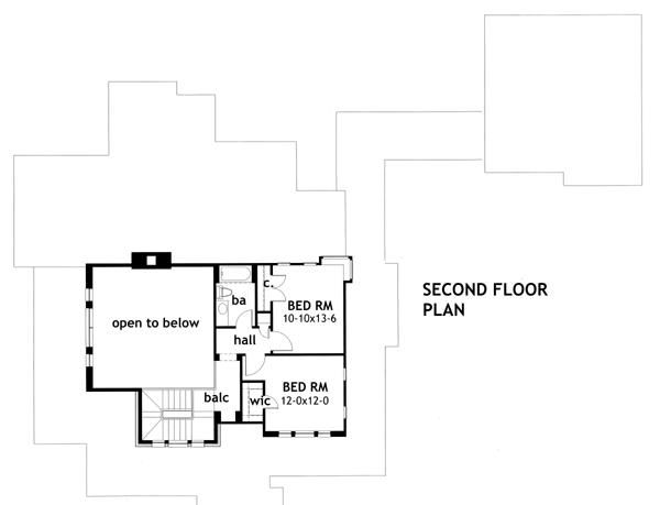 План 2 этажа План 2-этажного дома с отдельным гаражом, соединенного колоннадой