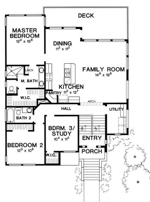 План 2 этажа План 2-этажного дома 12x15 м.