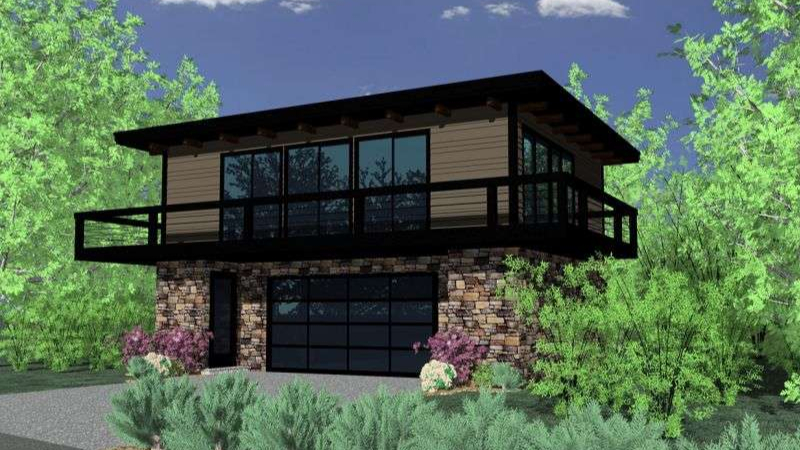 Этот популярный проект двухэтажного каркасного дома в современном стиле 9 на 9 метров площадью  до 150 кв.м с гаражом на 2 машины и с 2 спальнями подходит для постоянного проживания.