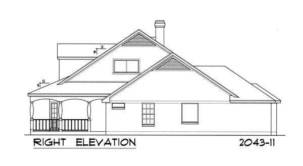 Вид справа Проект дома с верандой, слуховыми окнами на двускатной крыше и пристроенным гаражом на две машины