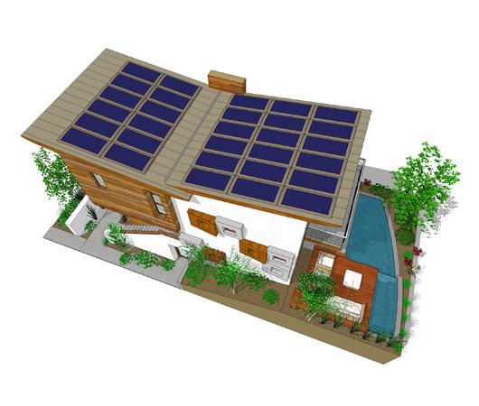 Современный проект двухэтажного дома 6 на 9 метров с подземным гаражом и 3 спальнями подходит для постоянного проживания и узкого участка с уклоном.