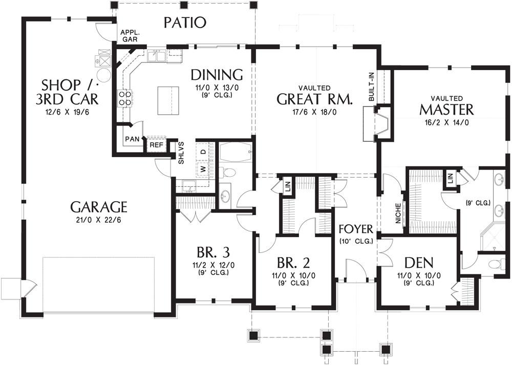 План 1 этажа План 1-этажного дома KD-9458-1-3 с гаражом 174 кв м