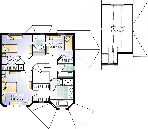 План 2 этажа Проект красивого двухэтажного дома с полукруглой верандой и отдельной дополнительной комнатой над гаражом
