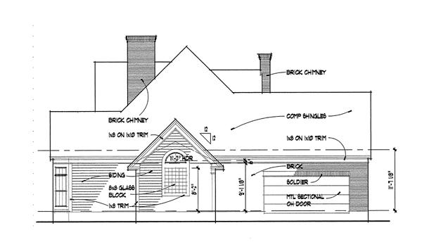 Вид слева Проект дома г-образной формы с мансардой, верандами и гаражом