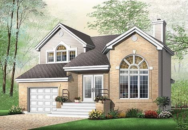 This house facade has windows with nice shatters, transom windows and faced with ick. A complex roof with large front facing gables completes the look of this house. House plan is 38 feet wide by 36 feet deep and provides 1677 square feet of living space in addition to a one-car garage Space includes Great Room, with a staircase to the upper level, with a cozy fireplace, a Dining Room, with a breakfast nook, additional Bedrooms, with a walk-in closet, with hall bathroom. The upper floor has 745 square feet of living space and features Master Bedroom, all bedrooms with walk-in closets, Secondary Bedrooms, with large hall bathroom with bathtub and shower, laundry closet, a loft open to the great room, lots of storage and closet space. Outdoor living space includes recessed entry porch.