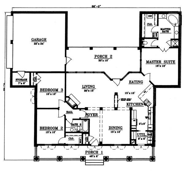План 1 этажа План 1-этажного дома с большим внутренним двориком