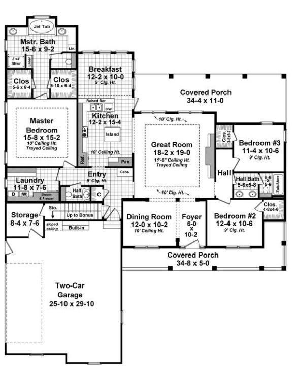 План 1 этажа Проект симпатичного одноэтажного дома со слуховыми окнами на двускатной крыше