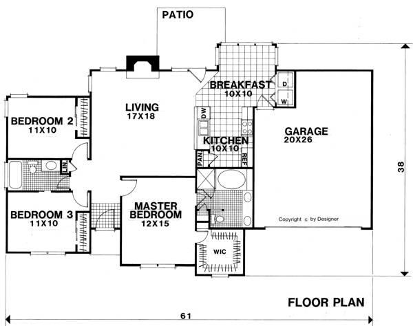 Проект одноэтажного дома в европейском стиле площадью  до 150 кв.м с гаражом на 2 машины и с 3 спальнями подходит для постоянного проживания.