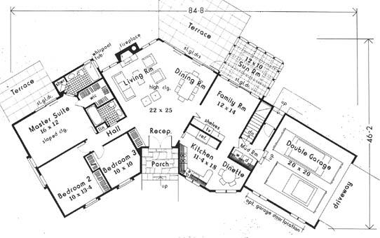 Интересный проект одноэтажного дома  площадью  до 150 кв.м с гаражом на 2 машины и с 3 спальнями подходит для постоянного проживания. Также перед домом есть веранда..