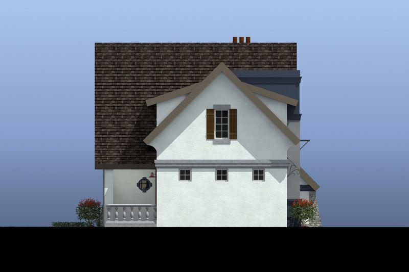 Левый фасад Проект эксклюзивного дома для Сибири с асимметричной крышей