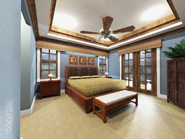 Проект одноэтажного дома в стиле кантри площадью  до 200 кв.м с гаражом на 2 машины и 4 спальнями подходит для постоянного проживания. В большой спальне есть ванная и гардеробная комната.
