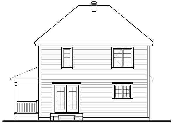 Вид сзади План 2-этажного дома 8x10 для дачи