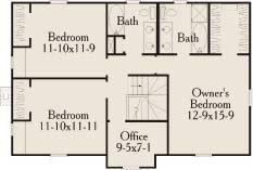 План 2 этажа План 2-этажного дома с большой верандой 175 кв м