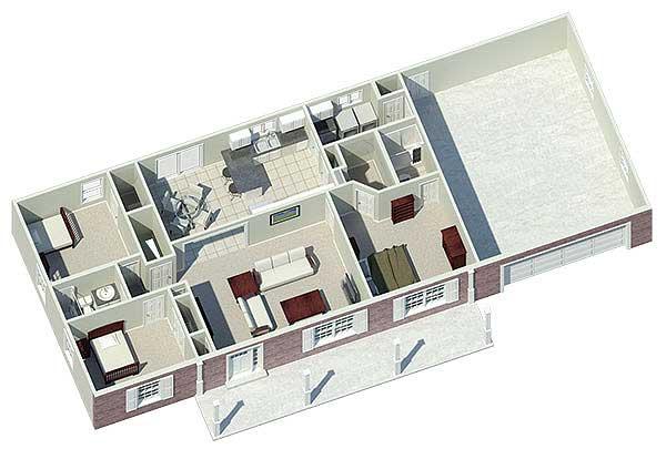 Проект 1 этажного дома в финском стиле с 3 спальнями и 2 ванными комнатами общей площадью 126.9 кв м. К дому пристроен гараж на 2 машины. Перед домом есть веранда. Проект дома с 3D-планом.