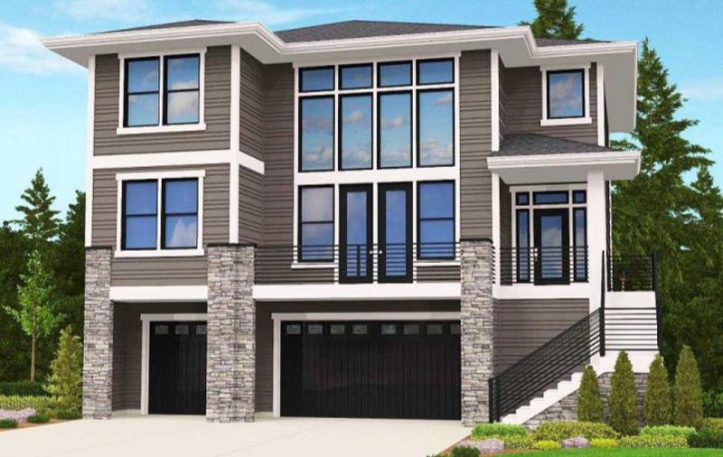 Этот симпатичный проект двухэтажного каркасного дома в современном стиле 12 на 12 метров площадью  до 250 кв.м с большим гаражом и с 3 спальнями подходит для постоянного проживания.