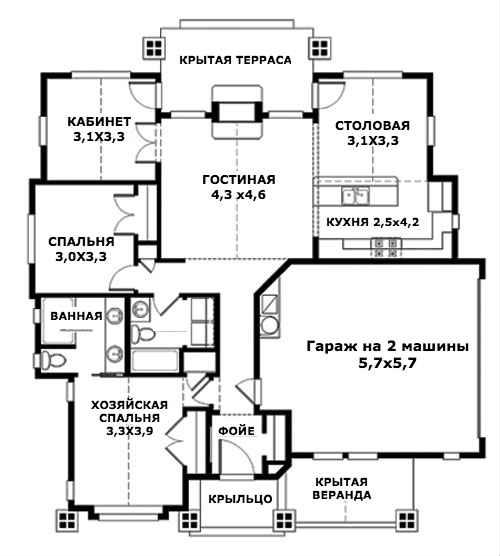 Этот привлекательный проект одноэтажного дома в стиле шале площадью  до 150 кв.м с гаражом на 2 машины и с 2 спальнями подходит  для дачи .